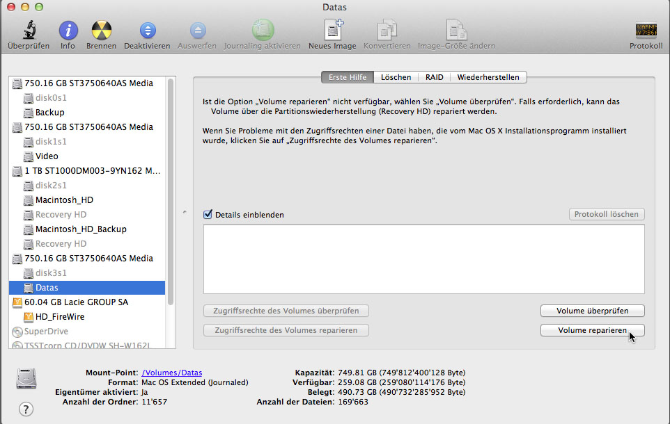 Mac OS X Volume reparieren